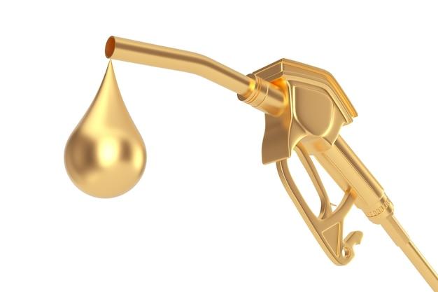 Buse de carburant de pompe à pistolet à essence dorée, distributeur de station-service avec gouttelette de gaz dorée sur fond blanc. rendu 3d