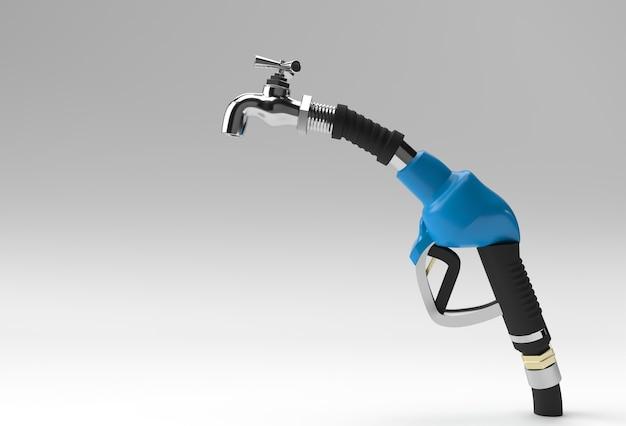 Buse de pompe à carburant de rendu 3d avec robinet isolé sur fond blanc.