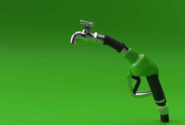 Buse de pompe à carburant de rendu 3d avec robinet isolé sur fond de couleur.