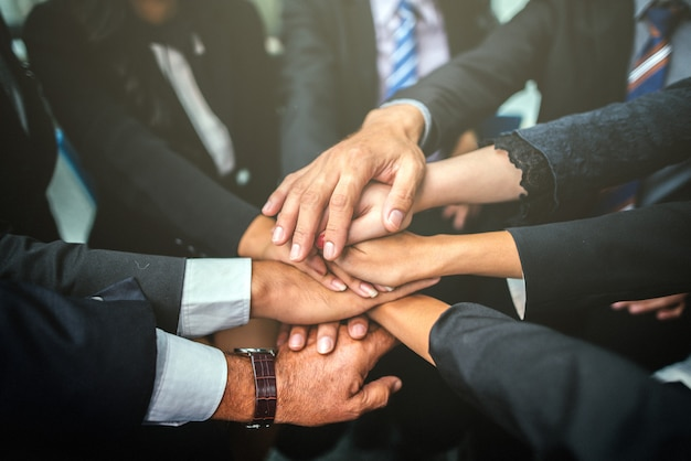 Business team stack hands support concept de travail d'équipe.