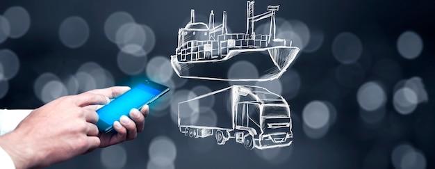 Businessman holding smartphone et montrant les transports holographiques