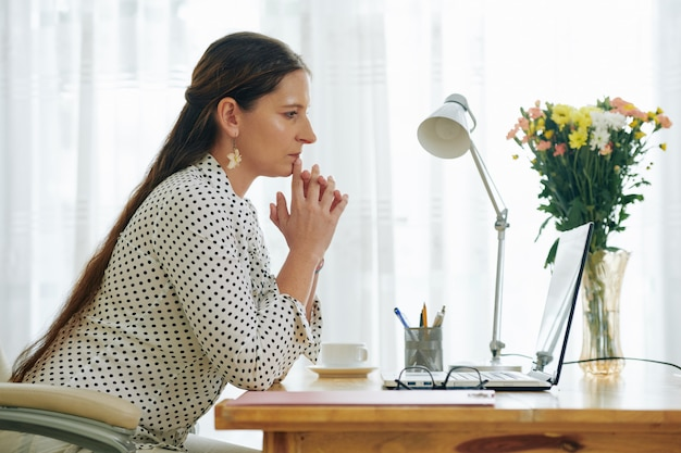 Businesswoman reading e-mail