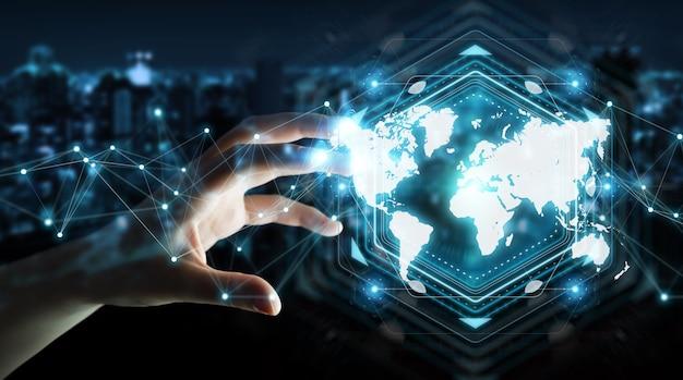 Businesswoman using digital world map interface