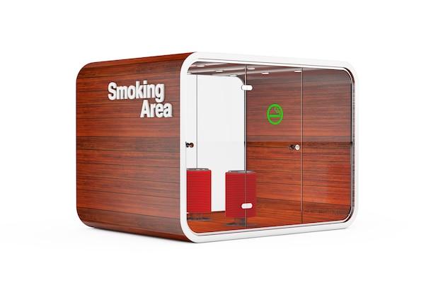 Cabine fumeur. chambre spéciale pour les fumeurs. espace fumeurs pour cigarettes, tabac, vipes et e-cigarettes sur fond blanc. rendu 3d