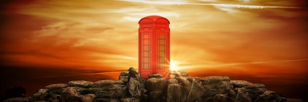 Cabine téléphonique sur un rendu 3d de montagne