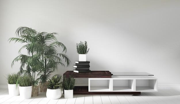 Cabinet en bois dans la chambre de style japonais. rendu 3d