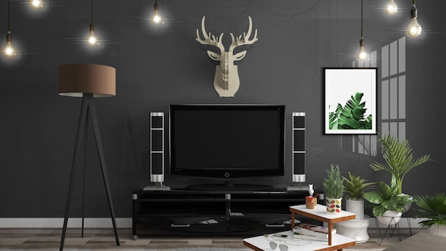 Cabinet dans la salle vide moderne, mur bleu noir sur plancher en bois, rendu 3d
