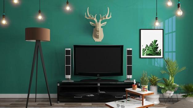 Cabinet dans une salle vide moderne, mur vert foncé sur plancher en bois, rendu 3d