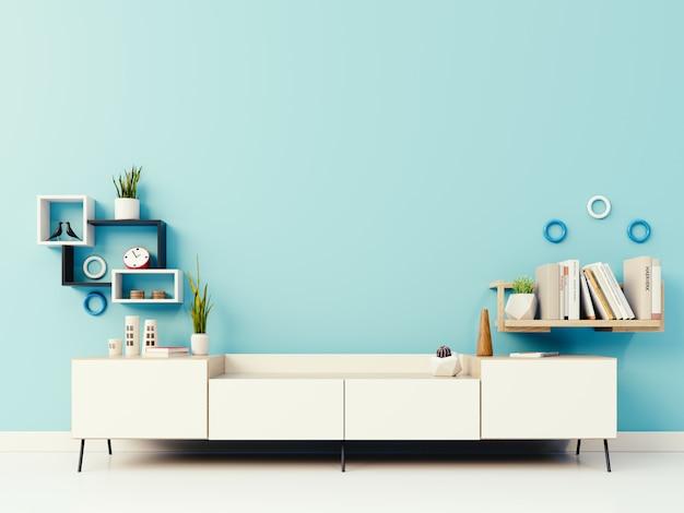 Cabinet sur le mur bleu