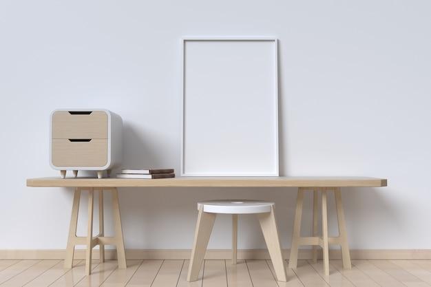 Cabinet sur le mur avec des livres et un cadre photo blanc