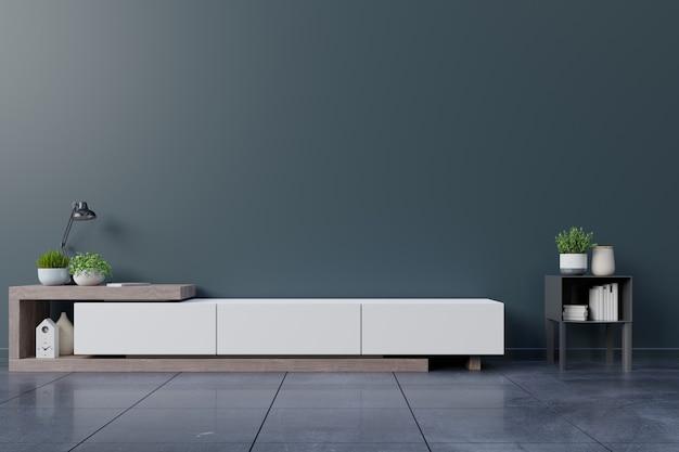 Cabinet tv dans la pièce intérieure vide, mur sombre avec étagère en bois, lampe, plantes et bois de table.
