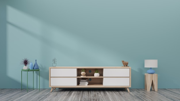 Cabinet tv dans la salle vide moderne ont des murs bleus