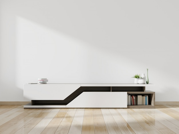 Cabinet tv maquette dans une salle vide avec plancher en bois.