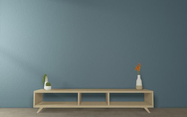 Cabinet tv mock up design on dark room japanese style.3d rednering