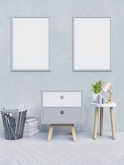 Cabinet vue de face d'un intérieur de travail avec salle vide mur bleu, affiche de la maquette sur la lumière