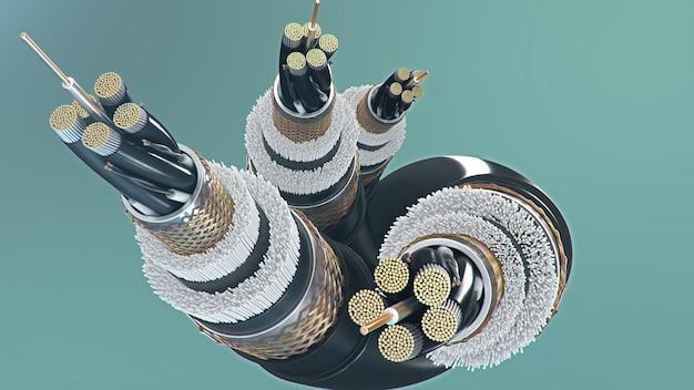 Câble à fibre optique sur fond coloré. technologie future des câbles. section de câble détaillée