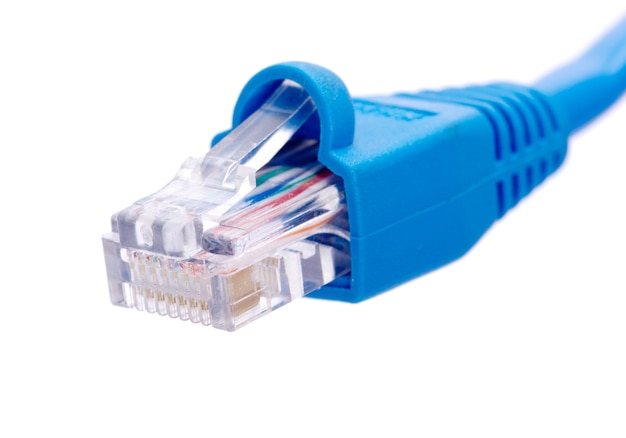 Câble lan et connecteur sur fond blanc