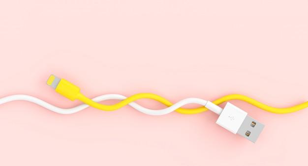 Câble nous blanc et jaune entrelacés entre eux