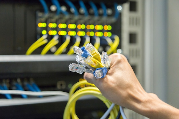 Câbles lan en main.