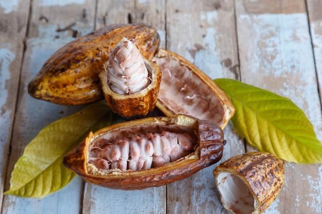 Cabosses de cacao fraîches et feuilles de cacao sur fond de bois