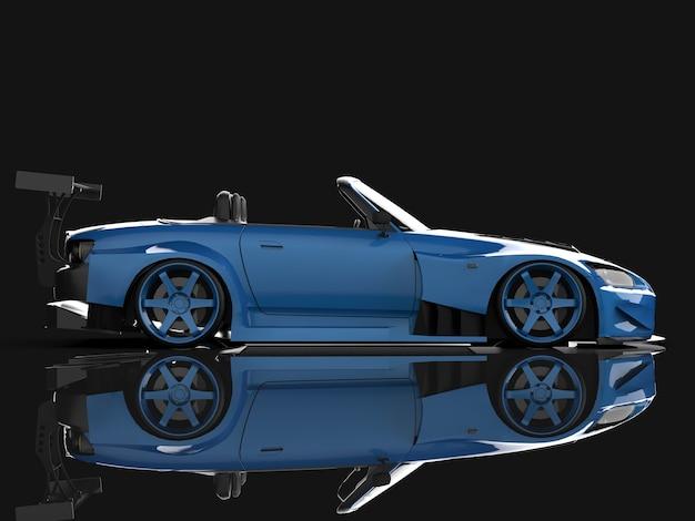 Cabriolet sport bleu moderne. voiture ouverte avec tuning. rendu 3d.