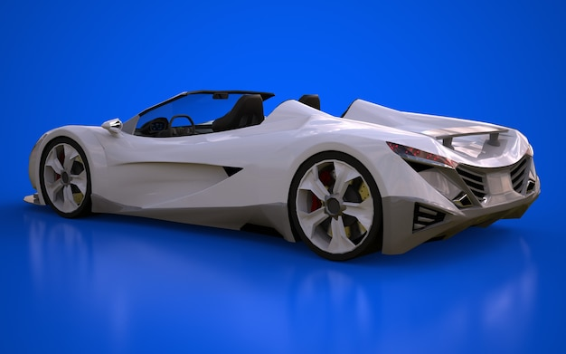 Cabriolet sport conceptuel blanc pour circuler en ville et piste de course sur fond bleu. rendu 3d.