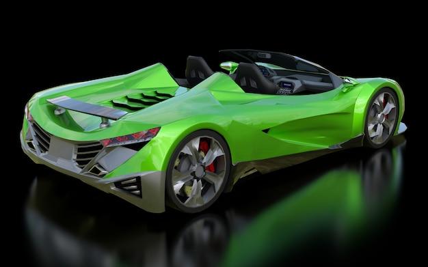 Cabriolet de sport conceptuel vert pour la conduite en ville et les courses