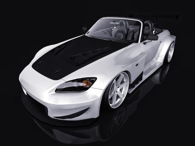 Cabriolet sport moderne gris métallisé. voiture ouverte avec tuning. rendu 3d.