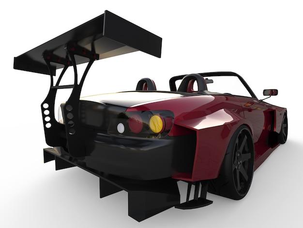 Cabriolet sport moderne rouge foncé. voiture ouverte avec tuning. rendu 3d.