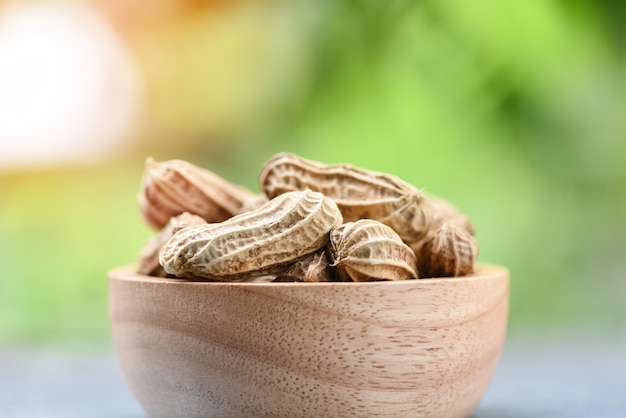 Cacahuète dans un bol en bois et nature vert / cacahuètes bouillies
