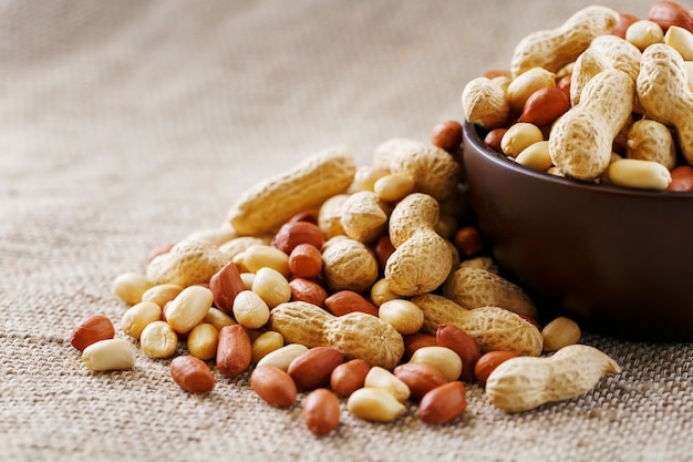 Cacahuètes dans la coquille et pelées en gros plan dans des tasses. cacahuètes grillées dans leur coquille et pelées contre un tissu marron.