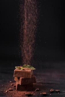Cacao en poudre versé sur des gaufres au chocolat