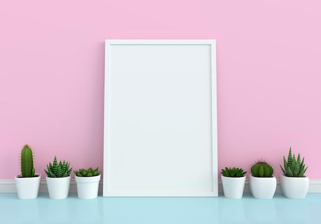 Cactus et cadre photo vierge