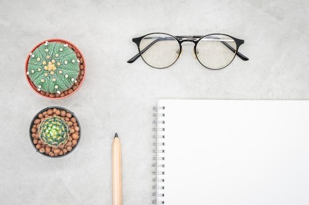 Cactus, cahier, lunettes et crayon sur la table de bureau