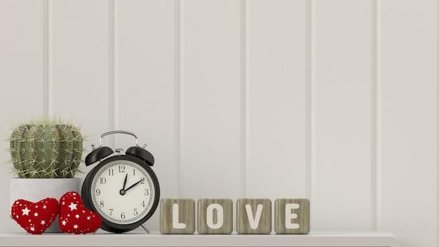 Cactus sur table horloge de bureau coeur saint-valentin avec texte amour devant la boîte en bois