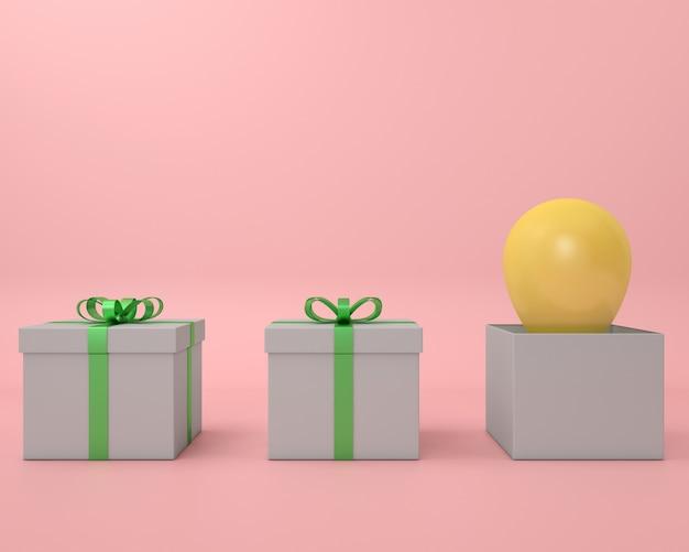 Cadeau boîte ballon jaune et ruban vert fond rose rendu 3d pastel