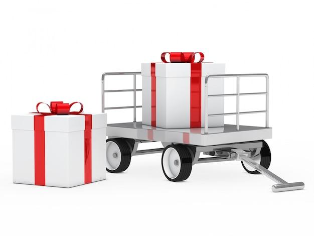 Cadeau à côté d'un panier avec autre cadeau