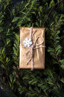 Cadeau emballé sur des branches d'arbres