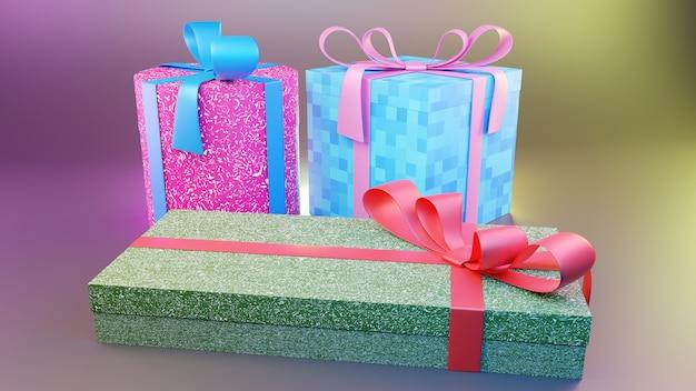 Cadeaux boîtes colorées rendu 3d