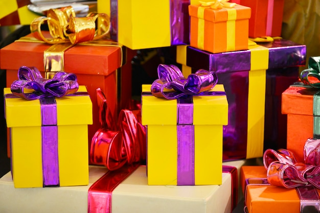 Cadeaux de décoration de noël, fond de célébration
