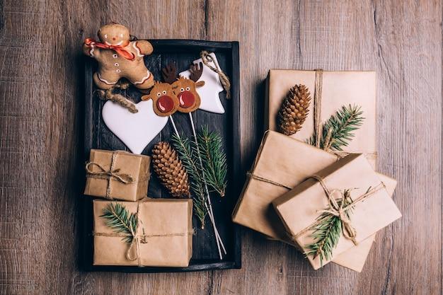 Cadeaux de noël en caisse