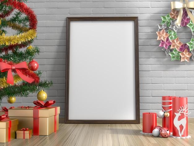 Cadeaux d'or, arbre de noël, bougie et cadre d'image vide dans le salon