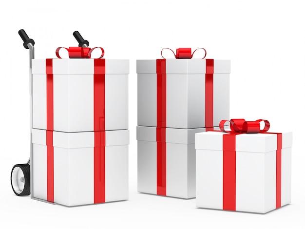 Cadeaux avec des rubans rouges pour anniversaire