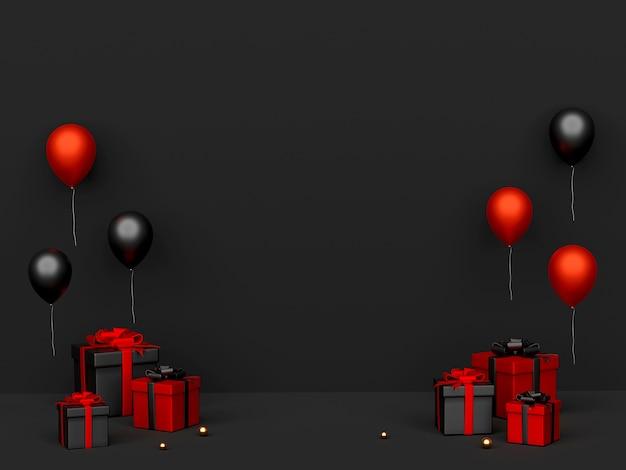 Cadeaux de vendredi noir et ballon en rendu 3d