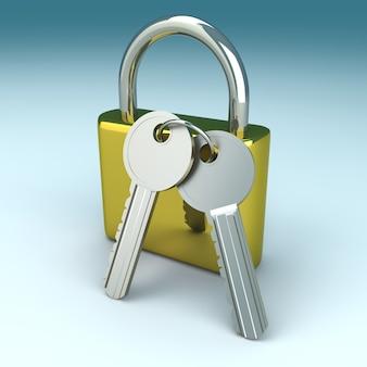 Un cadenas avec des clés. illustration de rendu 3d.