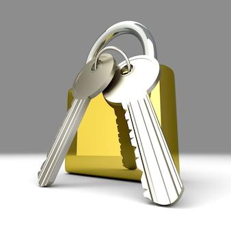 Un cadenas avec des clés.