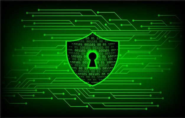 Cadenas fermé sur fond numérique, cyber-sécurité verte