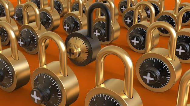 Cadenas ouvert noir dans la foule de cadenas fermés or