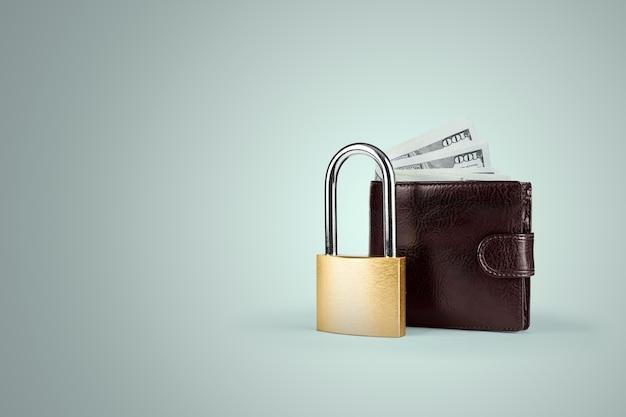 Cadenas et portefeuille avec de l'argent