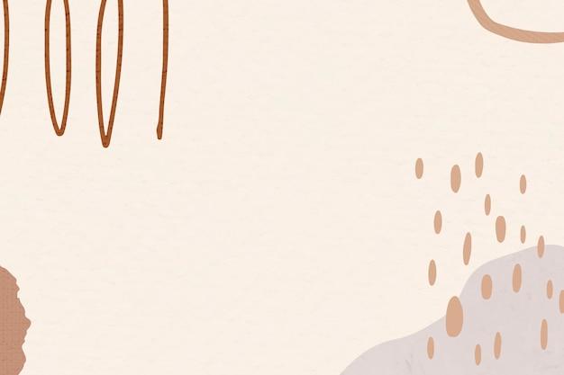 Cadre abstrait marron avec illustrations de memphis dans les tons de terre